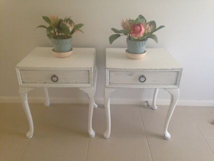 2 x French Shabby Distressed vintage Farmhouse bedside tables