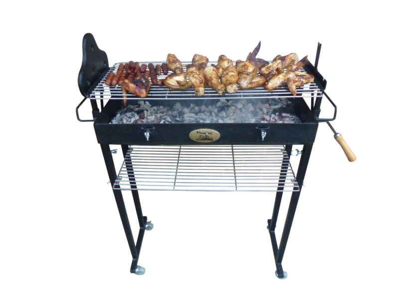 Use the leave as shown on the RHS to adjust the grill height or the skewer heigh