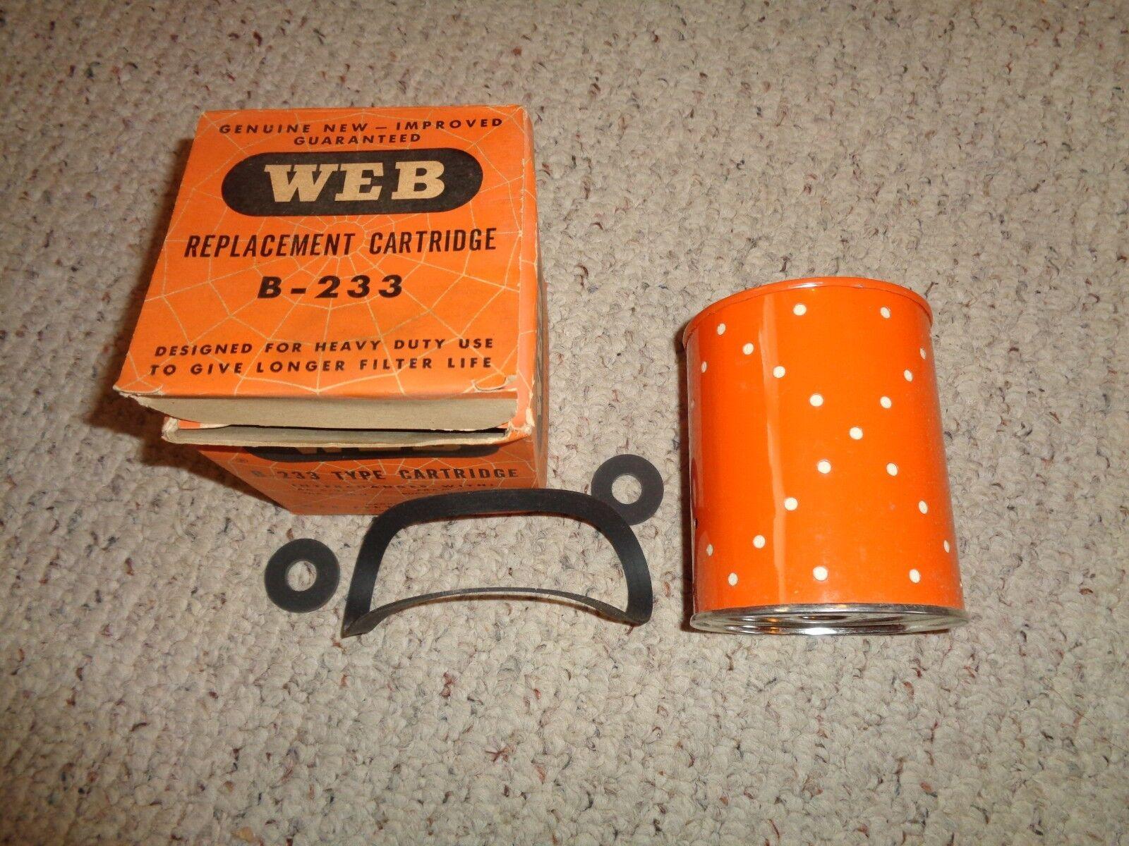 WEB B-233 oil filter FRAM C-130 AC C-301 NOS WEX PC-80-N PUROLATOR PN-15