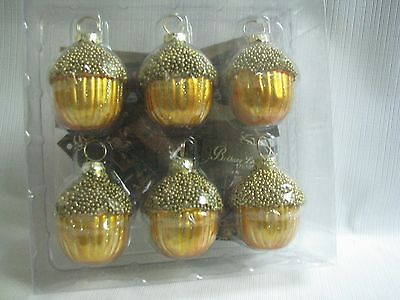 Set of 6 Glass Beaded Acorn Ornaments, place card holders by Bethany Lowe