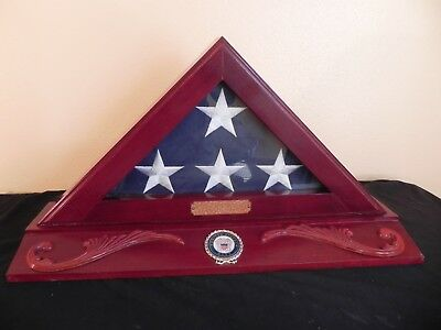 United States US Navy Folded American Flag in Triangle Wooden Display Case