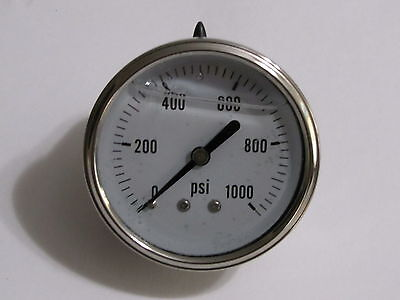 New Hydraulic Liquid Filled Pressure Gauge 0-1000 Psi 14 Npt Center Back Mount