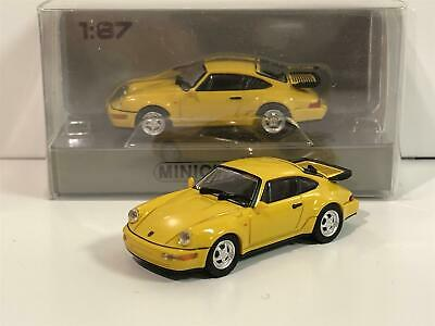 Minichamps 870069102 Porsche 911 Turbo 964 1990 Yellow 1:87 Scale