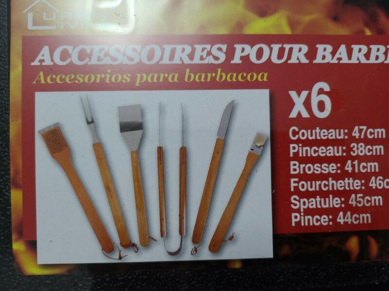 +6+Piece+BBQ+Utensils+with+wooden+handles+