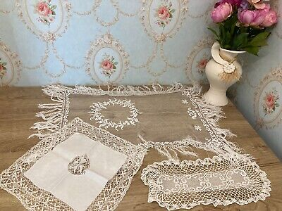 Selection Of Vintage Linen & Lace Tray Table Cloths, Doilies etc...