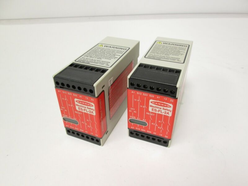 Lot of 2 Banner ES-FL-2A Emergency Stop Monitoring Safety Switch Relay 24VAC/DC