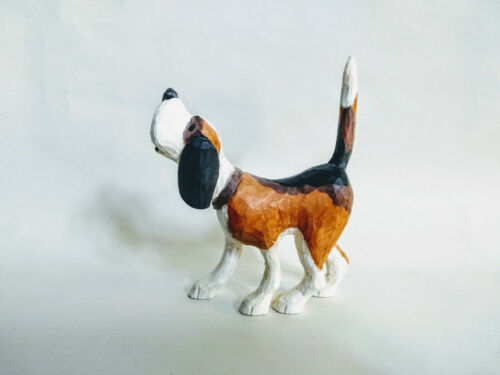 Vintage Folk Art Hand Carved & Painted Primitive Wooden Beagle Dog Figurine