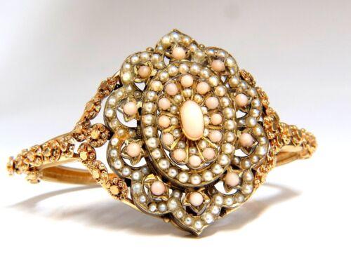 Vintage Seed Pearl Coral Cluster Bangle Bracelet 14kt
