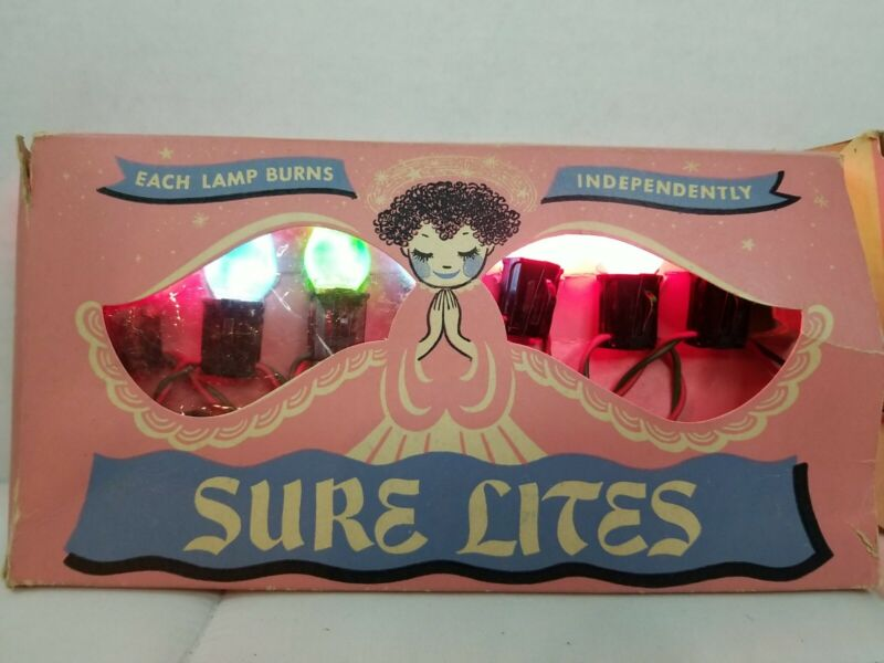 Vintage Antique Sure Lites Christmas Lights Very Rare In Box