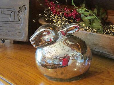 "Pottery Barn LIT MERCURY EASTER BUNNY~ SILVER ~ 6.5"" High ~ Beautiful Decor~ NIB"