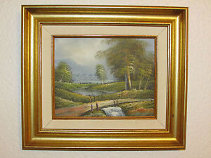 Vintage-Original-Oil-Painting-On-Canvas-Landscape-Signed-By-Rason