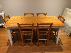 Dining/Kitchen Table Set - Table, 6 x chairs and 2 x stools