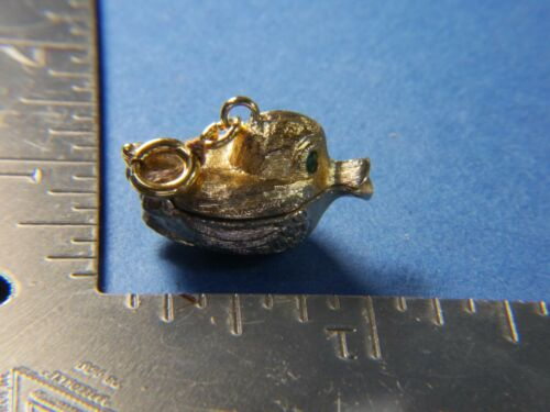 Green eyed 3D puffy Duck locket Vintage washed gold tone charm, Monet A25