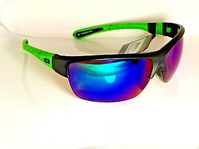 No Fear Impact Resistant Sunglasses Black Neon Green w Blue Ice RV Lenses Max UV