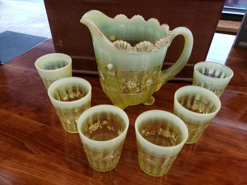 Victorian Northwood Vaseline Opalescent Daisy Set - Pitcher & 6 Tumblers