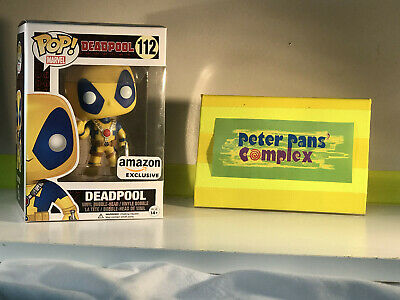Funko Pop Marvel Comics #112 Deadpool Yellow Ed. Amazon Ex. w/ Pop Protector