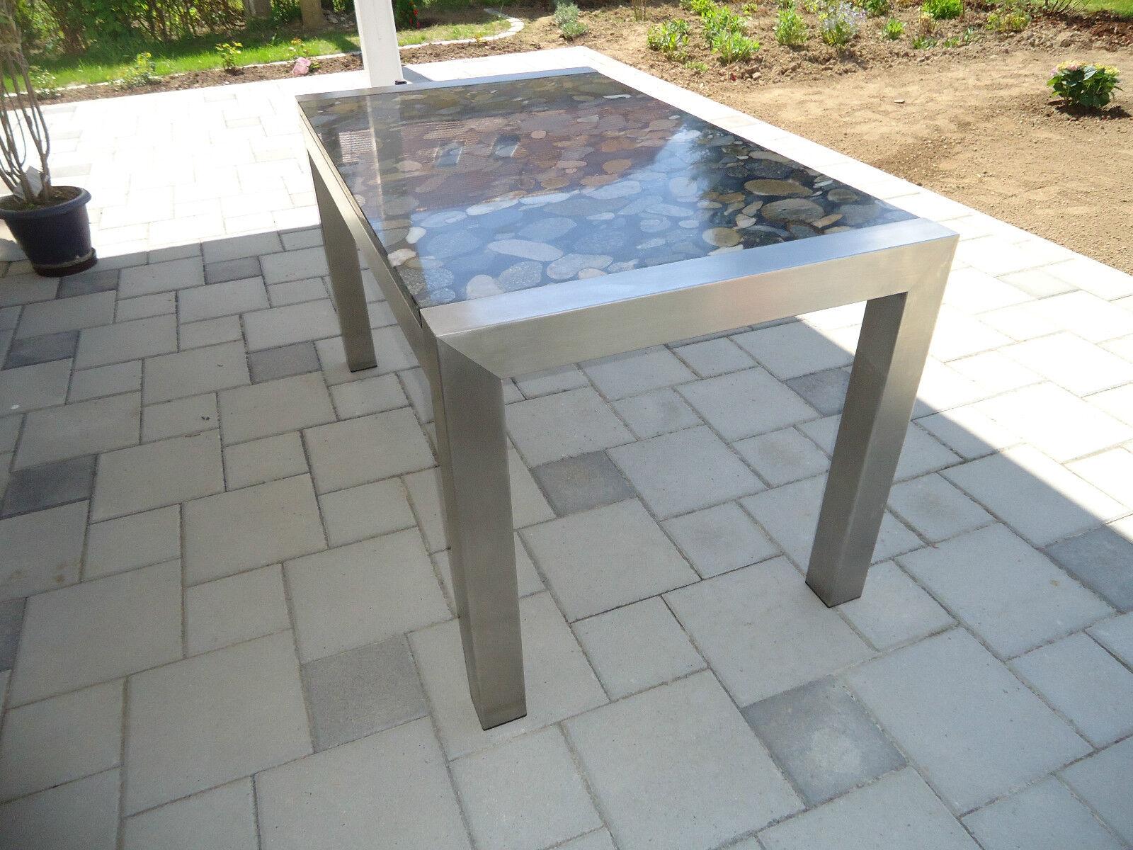 stabiler edelstahltisch esstisch gartentisch mit steinplatte kieseloptik granit eur. Black Bedroom Furniture Sets. Home Design Ideas