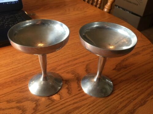 2 Silver Plate Plator Champagne Sherbet Wine Goblets Made In Spain - Very Nice !