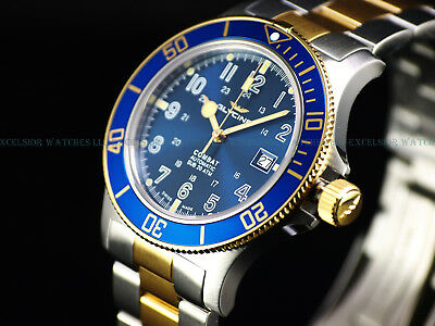 NEW GLYCINE 42MM COMBAT SUB SWISS AUTOMATIC SAPPHIRE DIVER WATCH, GL0081, 3908