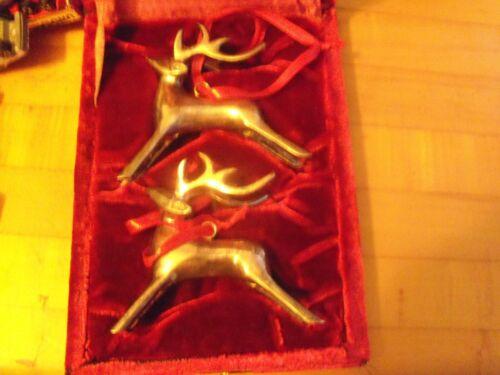 Vintage Silver Reindeer Ornament Set!