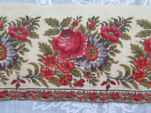 "Antique French 1850 Loom Woven Rose Cashmere Wool Border Yardage~L-65""X W-4"""