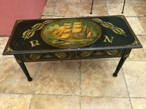 Antique Maritime Royal Navy Captains Coffee  table Ship Painting Folk art 1903