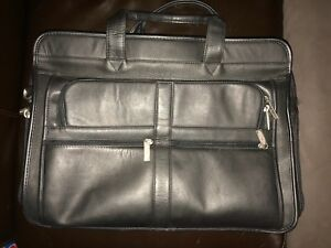 Black Real Leather LaSalle Briefcase (Real Leather)