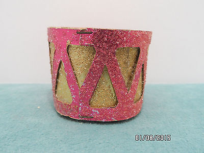 Antique Cardboard Christmas Tree Ornament Drum Pink Gold