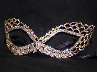 Gold AB Iridescent Rhinestone Masquerade Mask Mardi Gras Party /1248