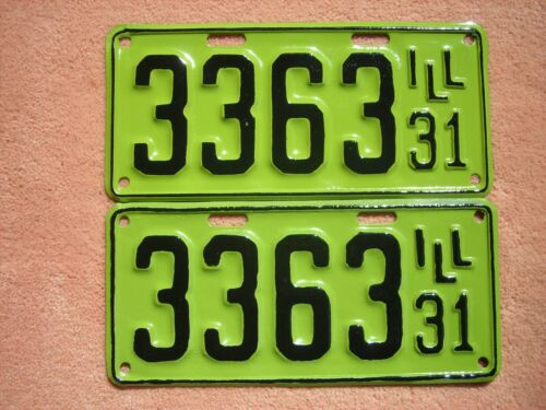 1931 Illinois license plates pair shorty ready for Model A, man cave, decor, vtg