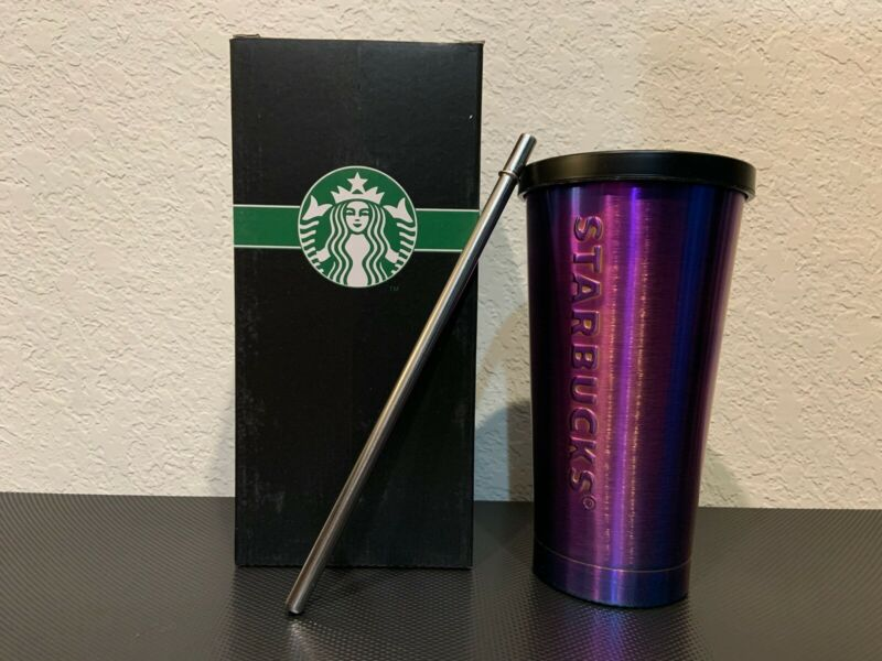 stainless steel Holographic starbucks tumbler 16 oz new in Box