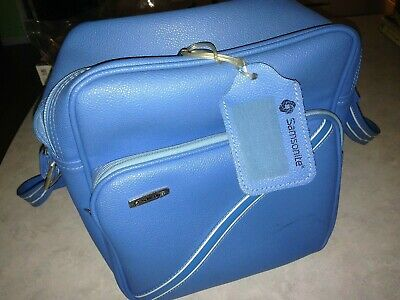 "Samsonite Vintage Baby Blue 11""x13""x9"" Shoulder Tote Travel Bag With Luggage Tag"