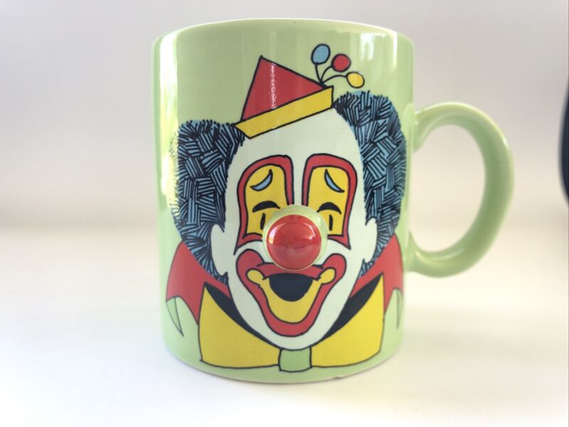 Clown Coffee Cup Mug Red 3D Nose Light Green Made in Japan by ACTION