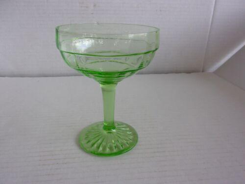 Depression Anchor Hocking Block Optic Green Uranium Sundae Sherbet Glass