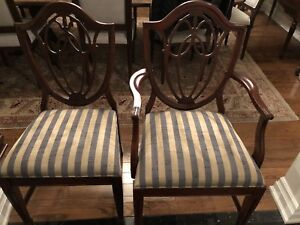 Set of Six (6) Antique Mahogany Shield Back Dining Chairs