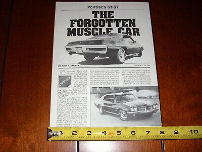 1971 Pontiac Gt 37 Muscle Car   Original 1986 Article