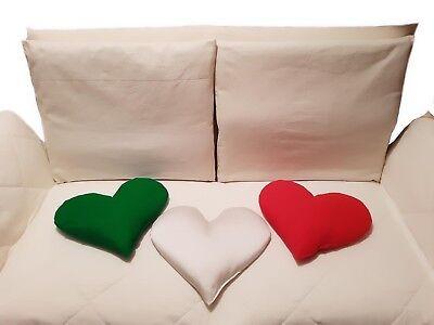 TRIO MADE IN ITALY Set 3 Cuscini a Forma di Cuore in Grano Saraceno Miglio Farro