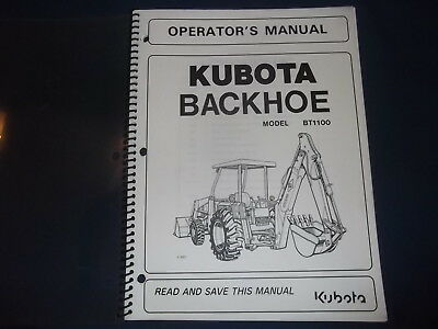 Kubota Bt1100 Backhoe Operator Operation Maintenance Manual Book