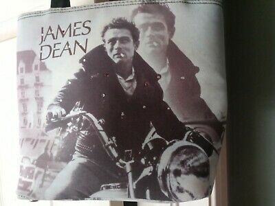 1950s Handbags, Purses, and Evening Bag Styles James Dean Motorcycle Black and White 1950s Rhinestone Purse Handbag Rockabilly $0.99 AT vintagedancer.com