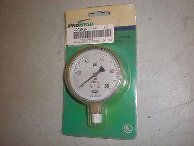 Praxair Prs20007 Brass Pressure Gauge To 100psi - 2-12 Dia - 14 Npt - Nip