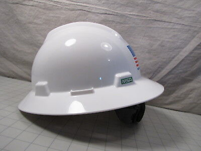 Msa A-vgd V-gard Protective Hard Hat W Glaregard Fastrac 3 Suspension New
