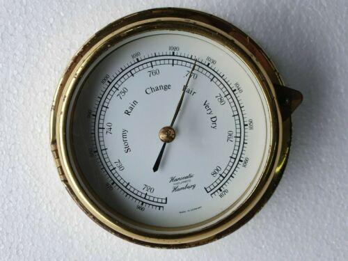 Hanseatic Vintage Brass Barometer, Marine   - Made In Germany