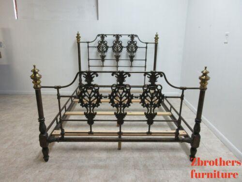 Domain Case Iron Brass Queen Size Bed Headboard French Regency Filigree