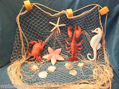 10 ' x 8 ' Decorative Nautical Fish Netting CRAB LOBSTER SEAHORSE  STARFISH