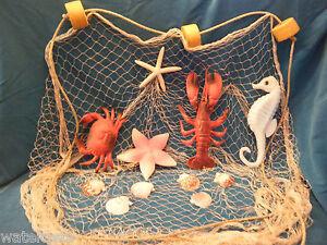 6 X 9 Fishing Net Crab Lobster Seahorse Starfish Display