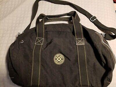 "Vintage Kipling EUC! Black Large Duffle Bag Hefty Zippers Hardware 22"""
