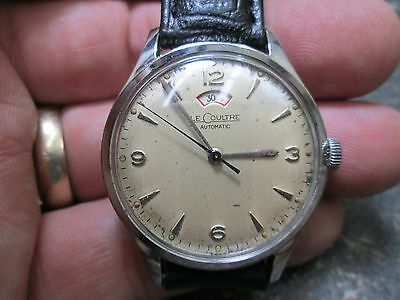 Vintage LECOULTRE Automatic WIND POWER INDICATOR Mens STAINLESS WRIST WATCH 34mm