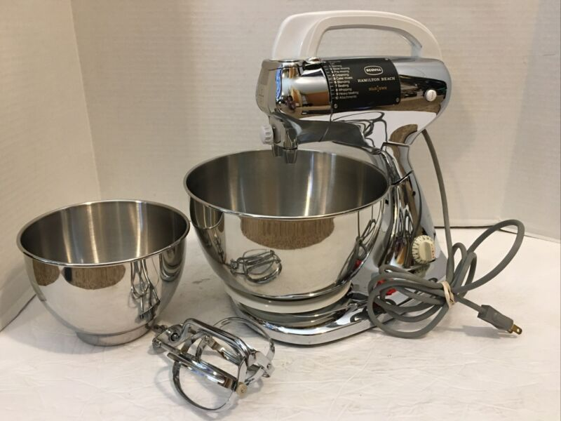 Vintage*Hamilton Beach Chrome Scovill Solid State Chrome Stand Mixer*10 Speed