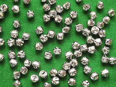 100 x SILVER Jingle Bells 10mm Cat Bells Christmas Charm Toys Jewellery Craft UK