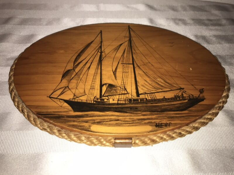Vintage Painting / Drawing Wood Plaque Schooner YANKEE CLIPPER Sailing Ship